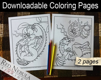 Coloring Pages 6-7 - Shella the Dragon, Young Adult Coloring Page, Fantasy Coloring Book Pages, Flower, Fire Dragon, Accident, Flame
