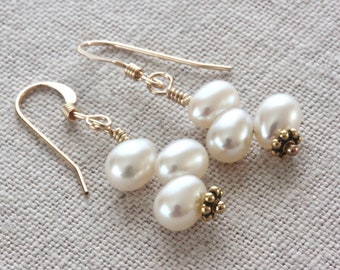 White Pearl Earrings, Freshwater Pearl Earrings, Pearl Dangle Earrings, Beaded Earrings, Real Pearl Jewelry, Gold Filled Jewelry for Her