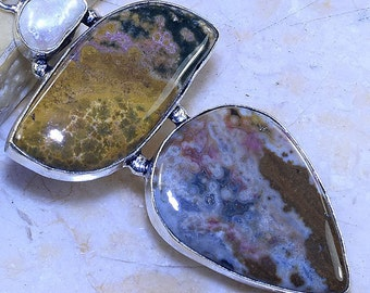 Ocean Jasper/ Biwa Pearl /Triple Stack/ Gemstone/ 925 Sterling Silver Pendant