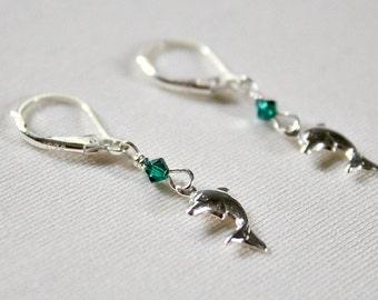 Dolphin Earrings,5th Grade Graduation Gift,For Girl,Swarovski,Sterling Silver,Gift,For Dolphin Lover,For Marine Biologist,Sea Inspired Gift