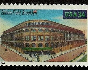 Ebbets Field, Brooklyn USA -Handmade Framed Postage Stamp Art 17816