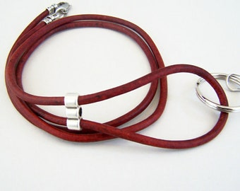 Red Leather Id Clip, Custom Length 26-36 Inches, Unisex Badge/Id Lanyard, bye Eyewearglamour