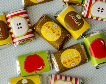 Apple Party PRINTABLE Mini Candy Bar Wrappers (INSTANT DOWNLOAD) by Love The Day
