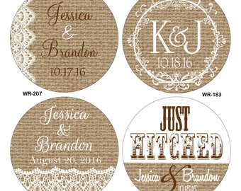 140 2 inch Burlap / Linen and lace Personalized Glossy Waterproof Wedding Stickers - change designs to any color, wording etc