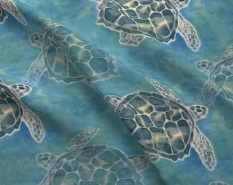 Sea Turtle Fabric - Sea Turtle Batik Style By Lauriekentdesigns - Sea Turtle Cotton Fabric By The Yard With Spoonflower