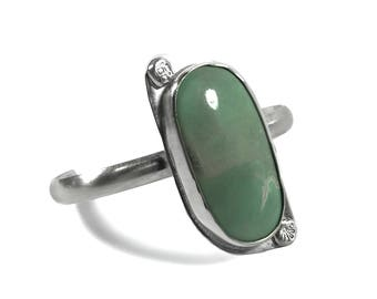 Cuff Bracelet - Variscite and Sterling Silver - Stacking or Stand Alone - Green Lucin Variscite Stone - Limited Production - Jewelry Gift