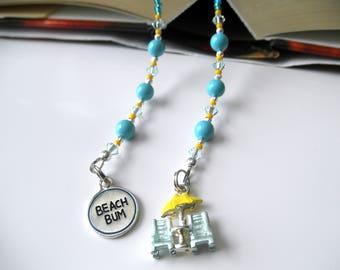 Beach Bum Beaded Book Thong - Blue Turquoise Bookmark - Beach Chairs Bookmark, Beach Bookmark, Umbrella Bookmark, Swarovski Crystal Bookmark