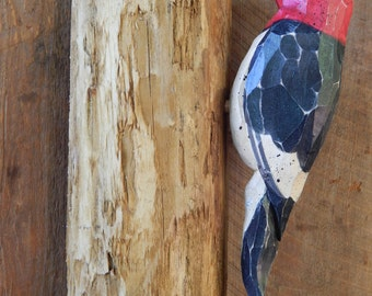 Carved Red Headed Woodpecker on Pine Tree Door Post or Wall Mounted