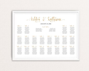 Gold Seating Chart Sign, Printable Wedding Seating Plan Poster, Gold Wedding Table Plan Gold Wedding Guest List Gold Seating Chart Board