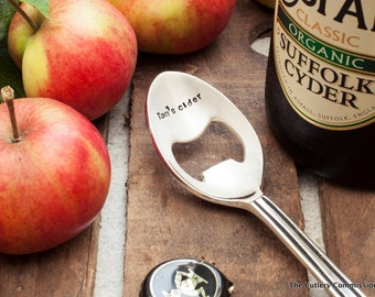 Personalised Silver Plated Spoon Bottle Opener, Beer, Cider, Ale