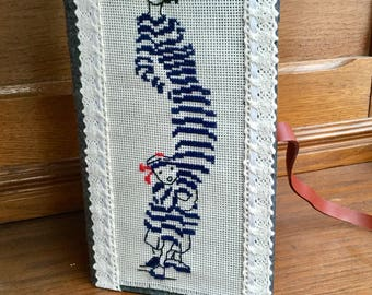 Navy embroidered glasses case