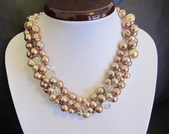Champagne Pearl Necklace Bridesmaid Necklace Shades of Brown Chunky Cluster Necklace Bridesmaid Gift Bridal Wedding Party Jewelry