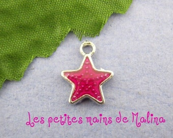 Star pendant charm enamel red Charms n ° 3