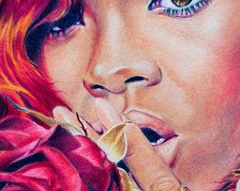 Rihanna Art,Rihanna Wall Art,Drawing Poster,Singer Poster,Art Print,Digital Art,Music Poster,Hip Hop Poster,Potrait poster,Water Color