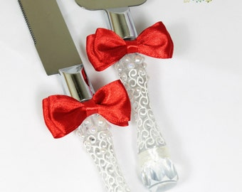Wedding Cake Serving Set in Ivory&Red-Wedding Cake and Knife Set with bows-Wedding Pearls Cake Cutting Set-Cake Accessories-Wedding gift