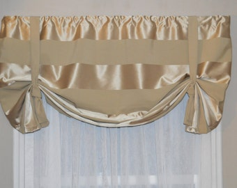 Window Treatment, Swag Valance, Tie Up Valance, Formal Window Valance, Tan valance