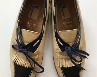 1970s Vintage Moreschi Navy and Cream Leather Golf Tassel Loafers Women's Size 9.5