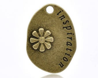 Bronze pendant, engraved Inspiration