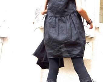 SALE Oversize Black Linen / Cotton   Loose Set  / Asymmetrical Combo Tunic and Top / Extravagant Dresses A12128