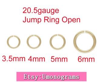 3.5mm,4mm,5mm,6mm Outside Diameter Open Jump Rings 20.5 gauge 0.76mm 14K Yellow Gold Filled Wholesale BULK Jewelry Finddings 1/20 14kt GF