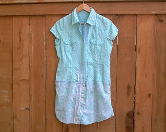 summer fling. womens medium shirt dress tunic top upcycled recycled refashioned boho prairie shabby cottage chic cotton paisley dress