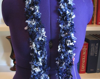 Hand Knit Scarf  in Variegated Blue Yarn
