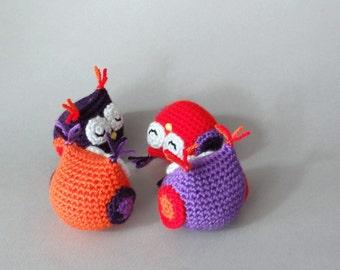 Birthday party decor, amigurumi owls, handmade crochet animal toy.