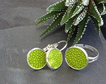Greenery jewelry set: stingray leather earrings, matching ring, lime green jewelry ser, gift for her, Mother's Day, bridesmaids, girlfriend