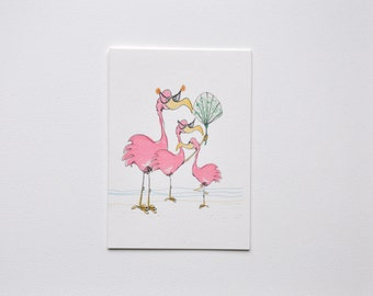 Coastal Seaside Bright and whimsical pink Flamingos 4 bar Note Cards