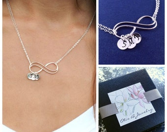 Mother of the bride gift, mother of the groom gift, Personalized infinity necklace, Mother in law gift, Infinity jewelry, Otis B