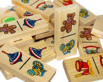 Kids Domino set - Wooden Dominoes Game - the Toy Pictures 28 pcs