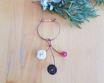 Vintage Button and Copper Ornament #2