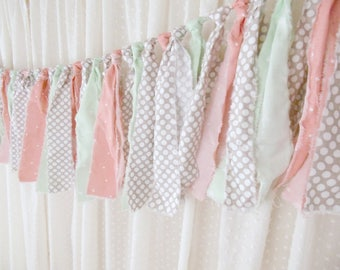 Peach and Mint Fabric Tie Garland, Rag Tie Banner, Baby Girl Room Nursery Decor, Baby Shower Decor
