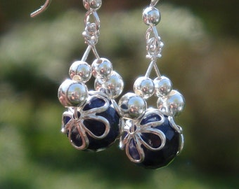 ROYAL WEDDING- Sterling Silver and Genuine Faceted Sapphire Earrings - Handmade by DORANA - Bridal - A Perfect Something Blue