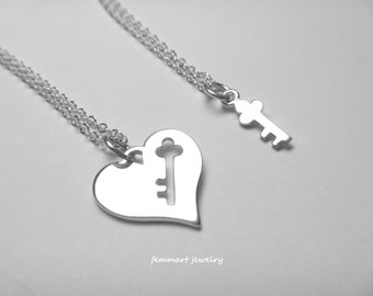 Mother Daughter Necklace - Heart and Key Necklace - Mothers Day Gift - Mom Necklace - Mother Daughter  Jewelry - Heart and Key Jewelry