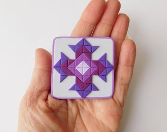 Purple Quilt Block Polymer Clay Magnet