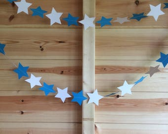 Blue and White Star Garland, Party Decorations, Party Garlands, Blue and White Baby Shower Decorations, Blue and White Wedding Decorations