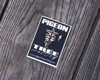 Pigeon Tree Crafting Pin- Black and Nickel Silver