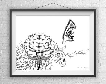 Brain Art Print, Brain Illustration, Brain Drawing, Geeky Gift, Weird Art, Brain Gift, Brain home Decor, Brain office decor, brain wall art