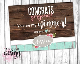 Piphany Online Winner Card, P!PHANY Rustic Wood Free Product Promotion, Facebook Sale Win Sign Marketing Kit Shabby Chic PRINTABLE