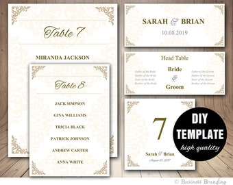Gold Wedding Seating Chart Template - Wedding Place card Template,Wedding Table Number,Wedding Table List Template,Gold Seating Chart