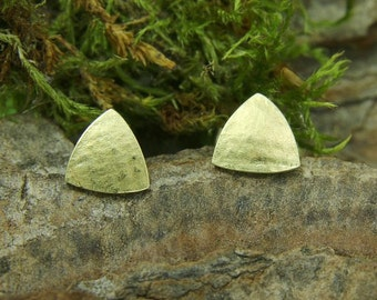 Earrings gold 585 /-, mini triangle of structure linen, handmade