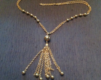 Vintage Tassel Necklace Gold Tone Chains