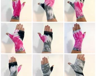 Pink, grey, and black tie dye bamboo fingerless gloves, wrist warmers.