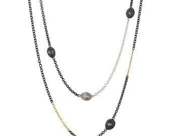 Long Necklace | Gold and Silver Necklace | Mixed Metals Necklace | Black and Gold Necklace