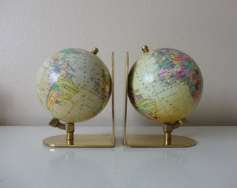 VINTAGE pair of GLOBE BOOKENDS - made in korea - world traveler - home office decor