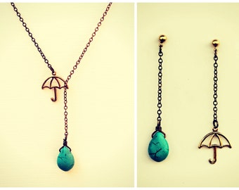 umbrella necklace with matching earrings, turquoise necklace, rain necklace,umbrella earrings, necklace earrings set