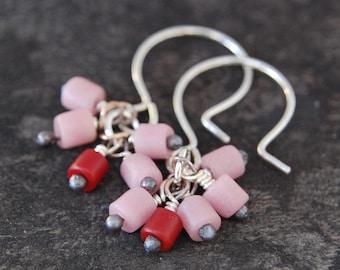 confetti earrings - berry