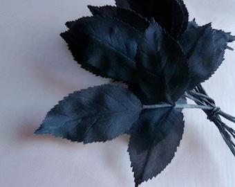 36 Black Leaves Vintage German Silk for Bridal, Floral Design, Hats, Fascinators ML 91
