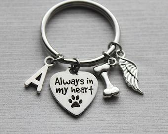 Always In My Heart Keychain, Memorial Keychain, Pet Memorial Gifts, Pet Memorial, Pet Sympathy Gifts, Pet Remembrance, Pet Remembrance Gifts